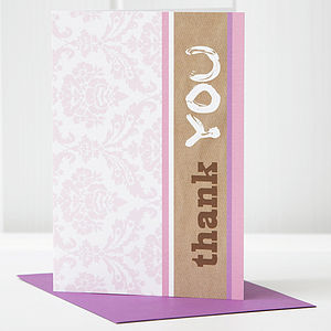 Pack Of Six Girl 'Thank You' Cards