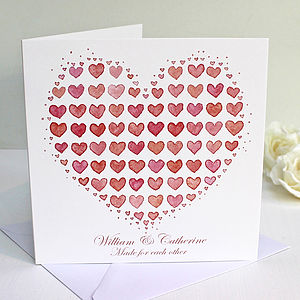 Personalised Heart From Hearts Greeting Card - wedding, engagement & anniversary cards