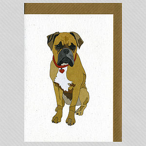 Illustrated Boxer Dog Blank Card
