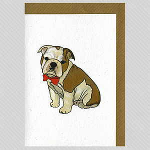 Illustrated Bulldog Boy Pup Blank Card