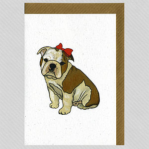 Illustrated Bulldog Girl Pup Blank Card - winter sale