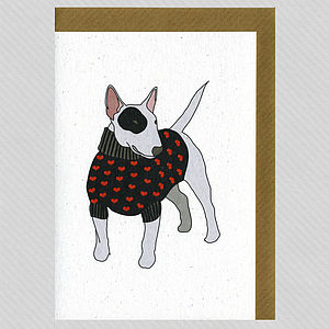 Illustrated English Bull Terrier Blank Card - cards, ribbon & wrap