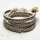 Vanilla And Pewter Leather Wrap Bracelet