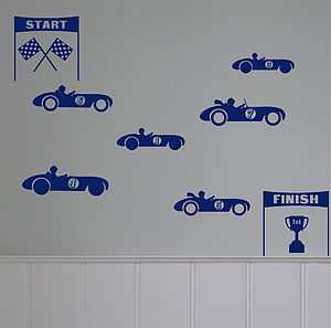 Mini 'Racing Cars' Wall Sticker Set - bedroom