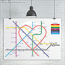 Personalised Favourites Heart Tube Map