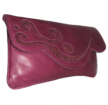 Rosie Leather Clutch Bag: Berry