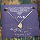 Delicate Heart Necklace On Love Card