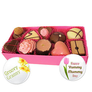 Mother's Day Chocolates And Badge - chocolates