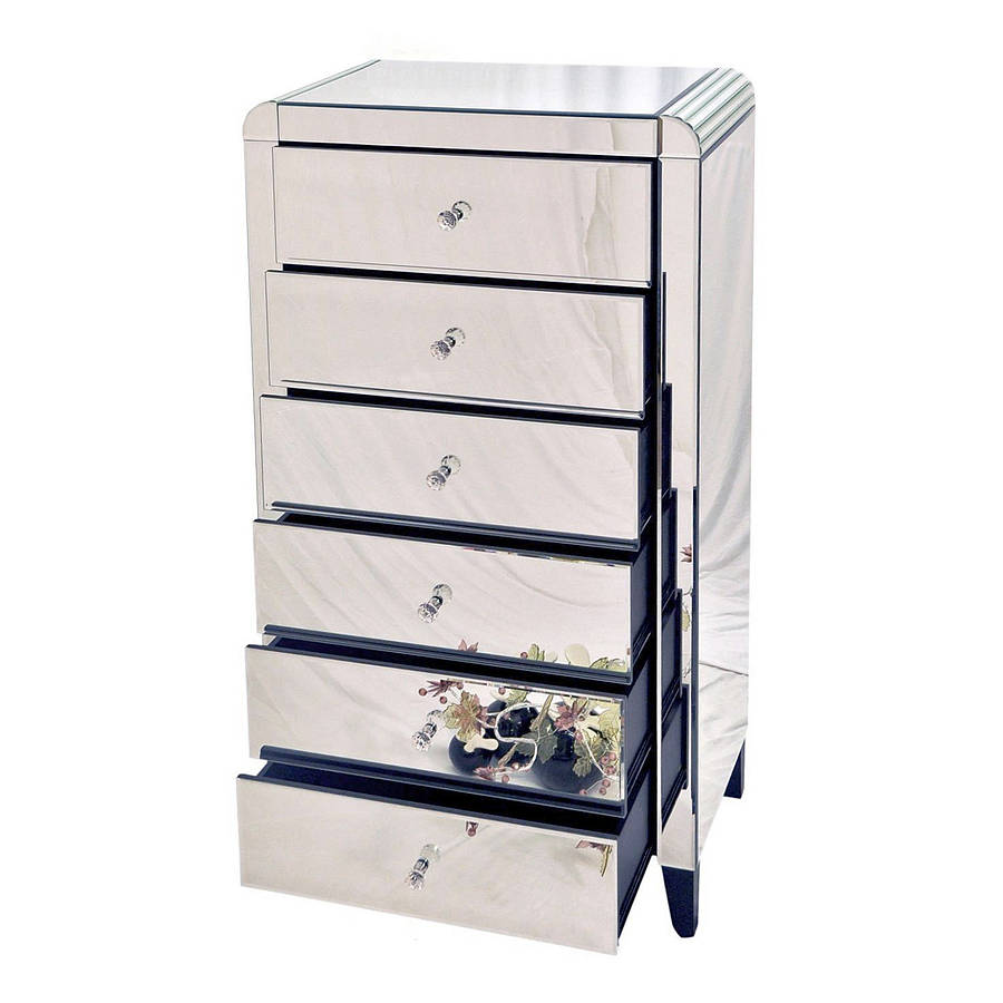 Six Drawer Mirrored Tallboy Chest By Out There Interiors