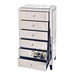 Six Drawer Mirrored Tallboy Chest - chests of drawers