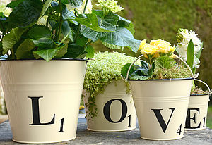 Letter Tile Style Buckets - less ordinary garden ideas