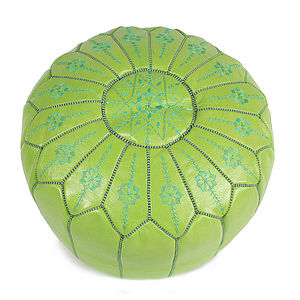 Moroccan Leather Starburst Pouffe Cover - furniture