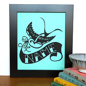 Personalised Swallow Tattoo Name Papercut - children's pictures & paintings