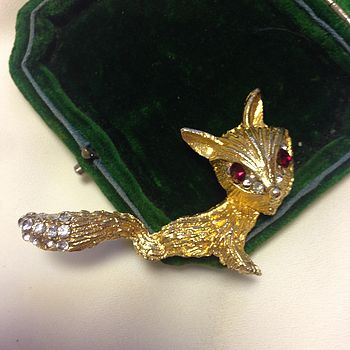 Vintage Gold Fox Brooch