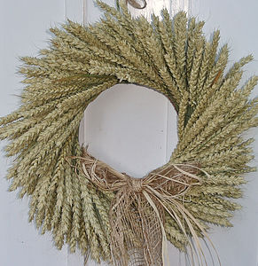 Natural Wheat Wreath - flowers & plants