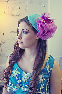 Purple And Aqua Wedding Guest Hat - hair accessories