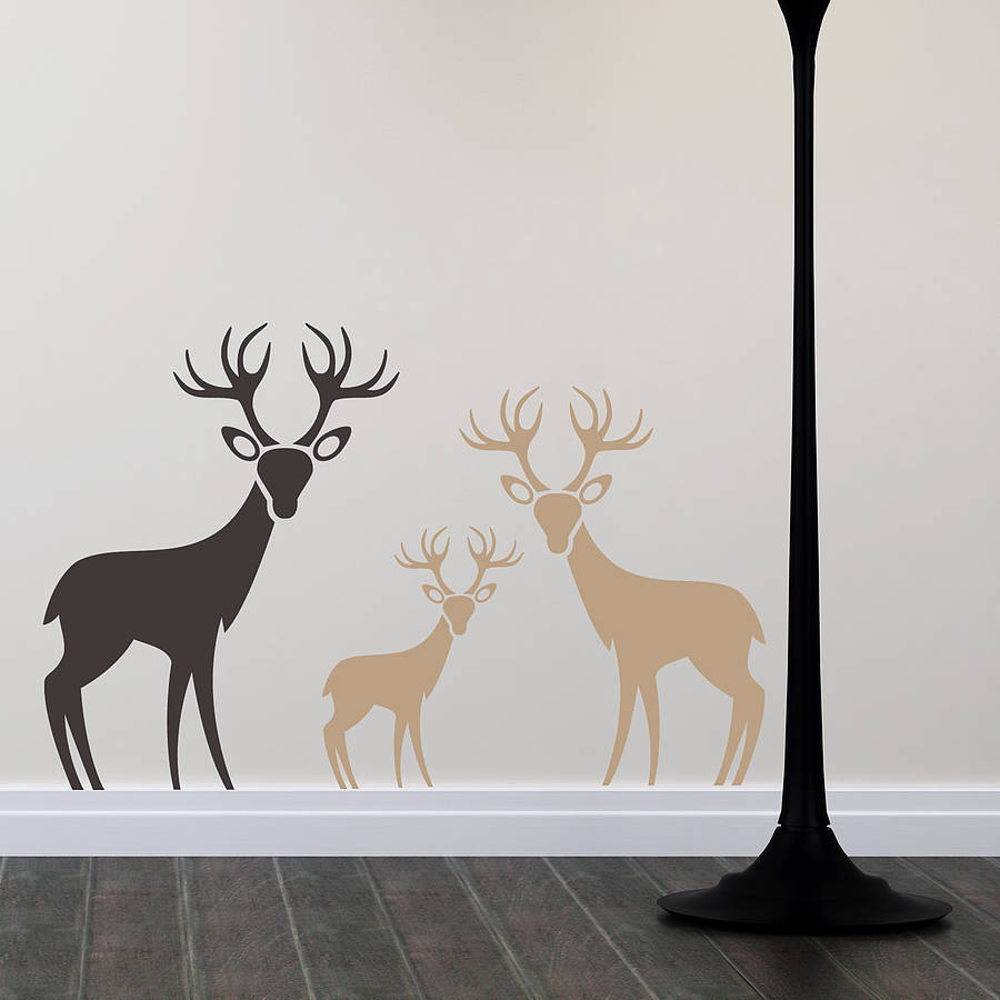 Charmant Woodland Deer Family Wall Stickers