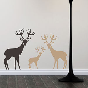 Woodland Deer Family Wall Stickers - children's room