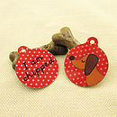 Red Sausage Dog Microchipped Pet tag