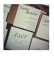 Calligraphy Vintage Print Wedding Invitation