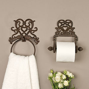 Period Heart Iron Roll Holder And Towel Ring - furnishings & fittings