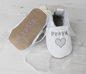 Personalised Heart Christening Shoes - socks, tights & booties