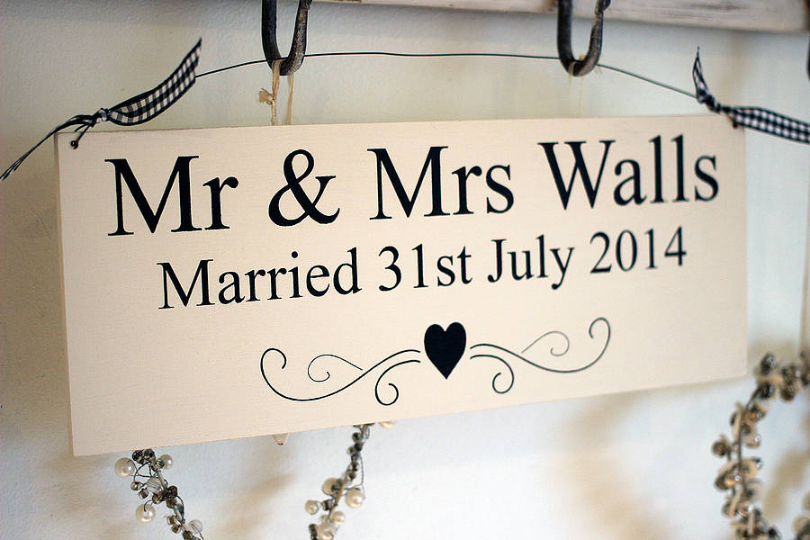 personalised mr & mrs wedding sign by hush baby sleeping ...