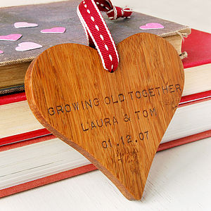 Personalised Valentine's Day Wooden Heart - love tokens for her