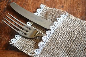 Hessian And Lace Cutlery Holder - shop by price