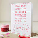 Personalised 'I Love You' Card