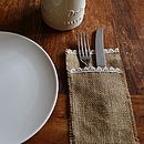 Hessian And Lace Cutlery Holder