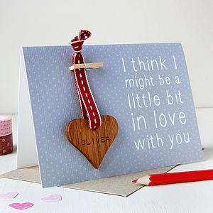 Personalised 'Little Bit In Love' Keepsake Card