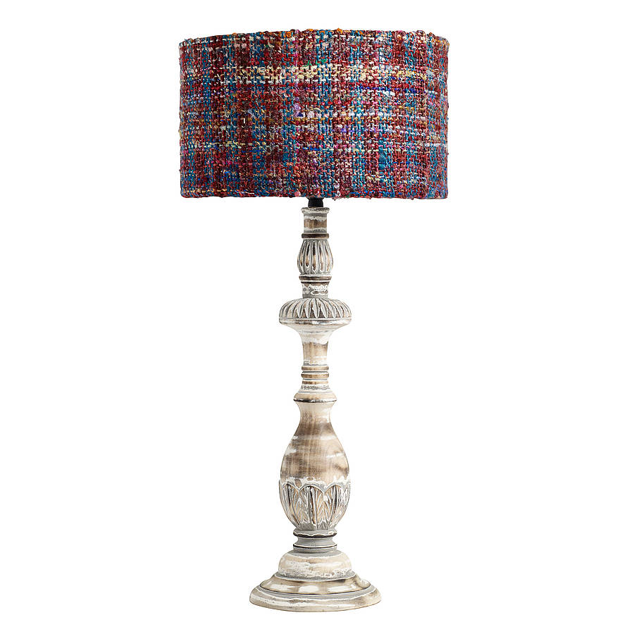 carved wood table lamp with colourful shade by out there interiors notonthe. Black Bedroom Furniture Sets. Home Design Ideas