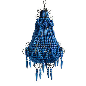 Blue Beaded Chandelier - bedroom