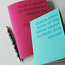 Turquoise A6 and pink A5 notebooks