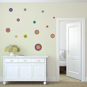 Bright Flower Pattern Wall Stickers - bedroom