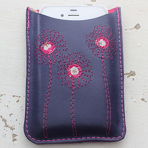 Personalised Leather Daisy Phone Cover - bags & purses