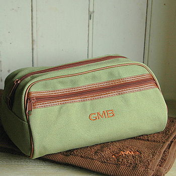 Green wash bag with personalisation