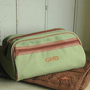 Personalised Green Fabric Wash Bag - bathroom