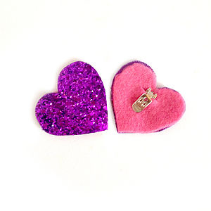 Glitter Heart Shoe Clips - bridal shoes