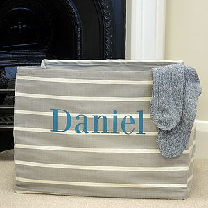 Personalised Grey Canvas Storage Tub - office & study