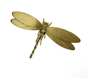 Gold Vermeil Dragonfly Brooch
