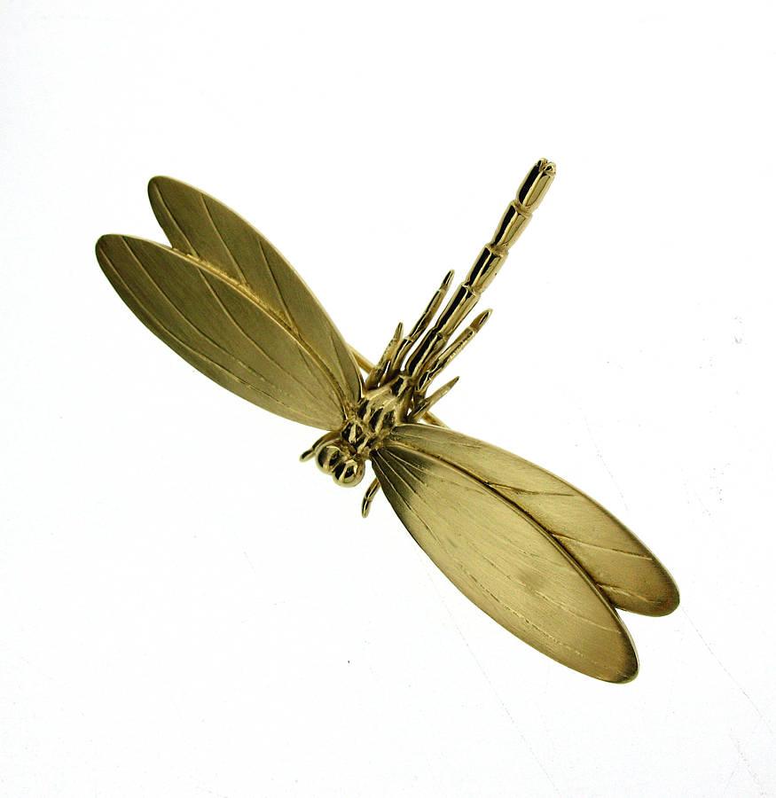 Will Bishop Gold Vermeil Dragonfly Brooch kQJsyUy