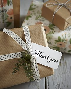 Eight Hand Stamped Thank You Gift Tags - wedding favours