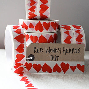 Wonky Hearts Gift Sticky Tape - wedding cards & wrap