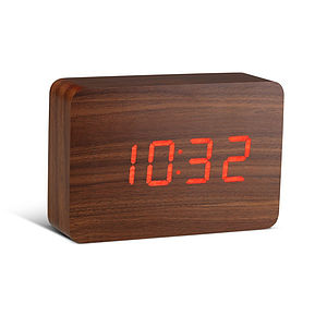 Walnut Brick Click Clock - office & study