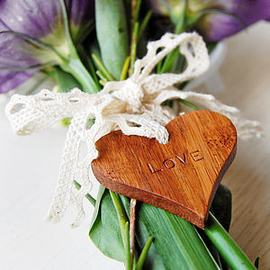 Personalised Wooden 'Love' Heart Token