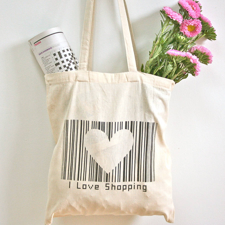 i love shopping' barcode tote bag by wood paper scissors ...