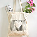 'I Love Shopping' Barcode Tote Bag