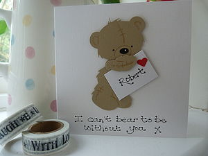 Personalised Bear Valentine's Card - valentine's cards